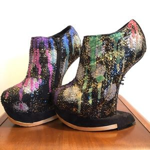 Shoes - Hand painted PRIDE glitter dripped platforms